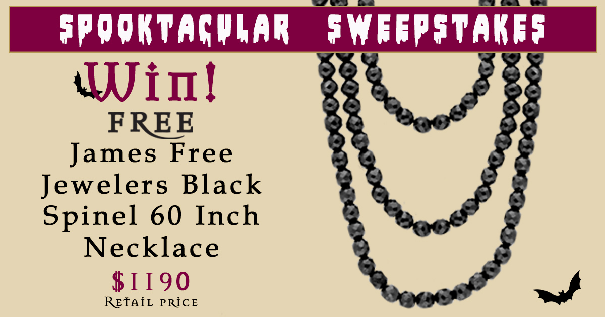 "Enter for your chance to win a James Free Jewelers Black Spinel 60"" Necklace Retail Value $1,190"