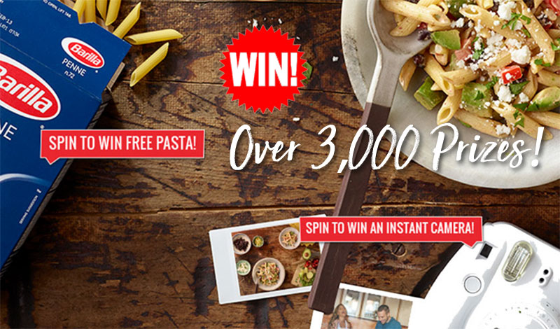 Thousands of prizes including gift cards, FujiFilm Instax Cameras, Barilla products and coupon savings are available in the Barilla Instant Win Game