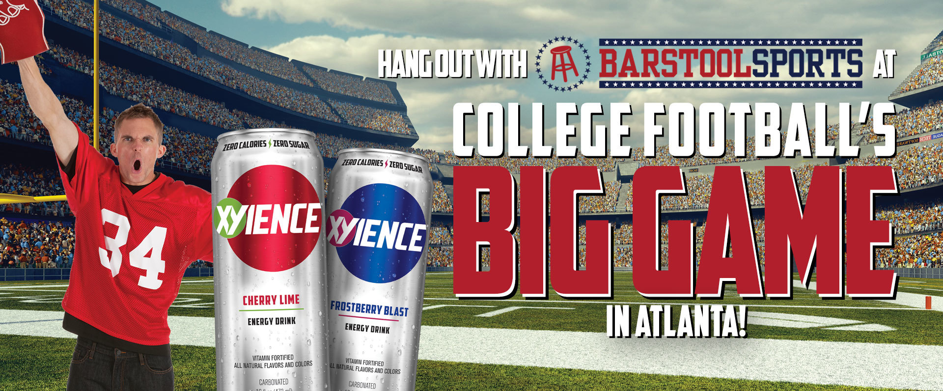 Enter to win a trip to College Football's BIG GAME in Atlanta! The prize includes airfare, hotel accommodations and game tickets for you and a guest, PLUS a meet-and-greet with Barstool Sports personalities!