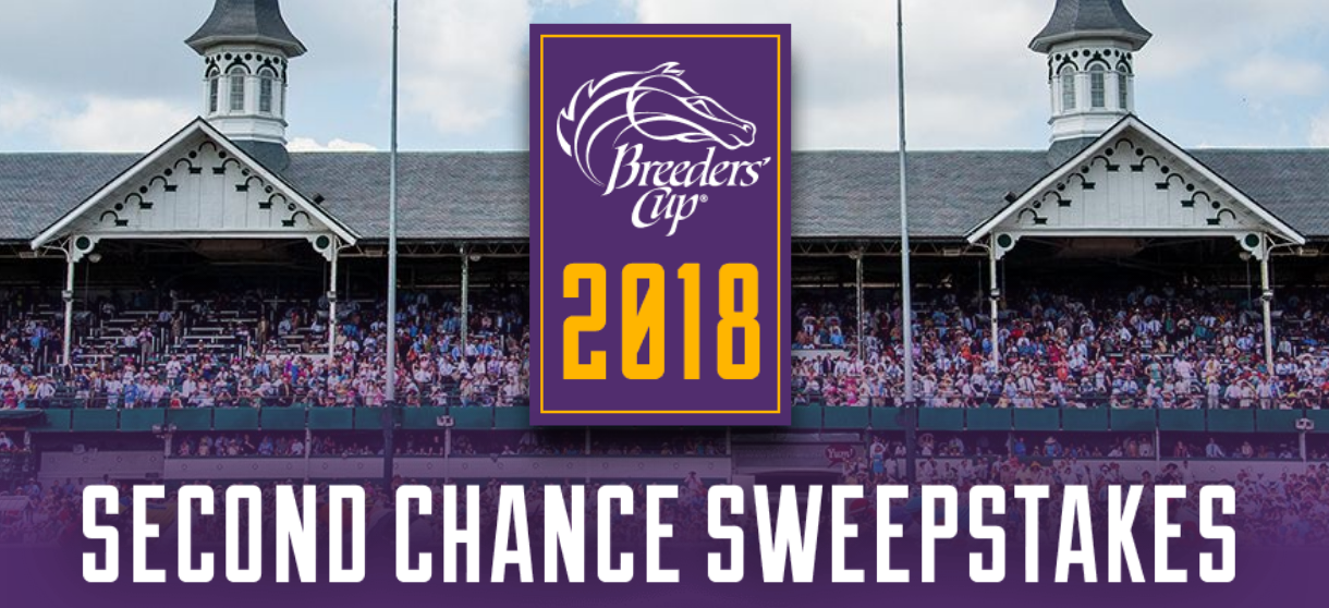 Enter the Breeders Cup Second Chance Sweepstakes for your chance to win a trip for two to the 2018 Breeders' Cup at Churchill Downs in Louisville, KY. The trip includes airfare, accommodations and tickets to the World Championships