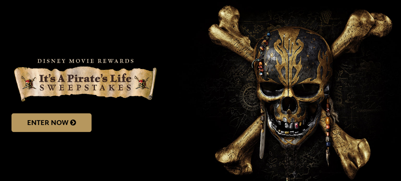 Enter to win Pirates of the Caribbean movies prizes from theDisney Movie Rewards It's A Pirate's Life Sweepstakes