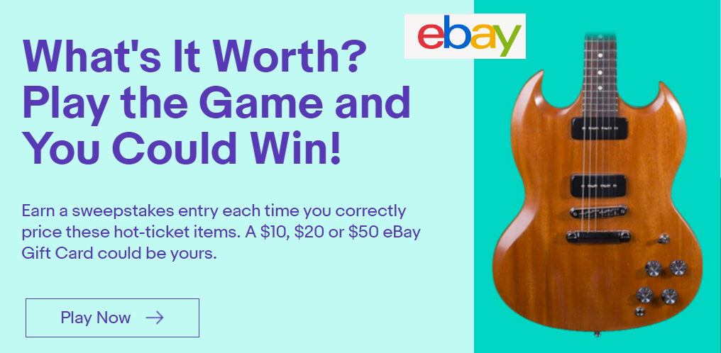 QUICK ENDING! Enter the eBay What's It Worth Selling Game Sweepstakes (1,300 Prizes)