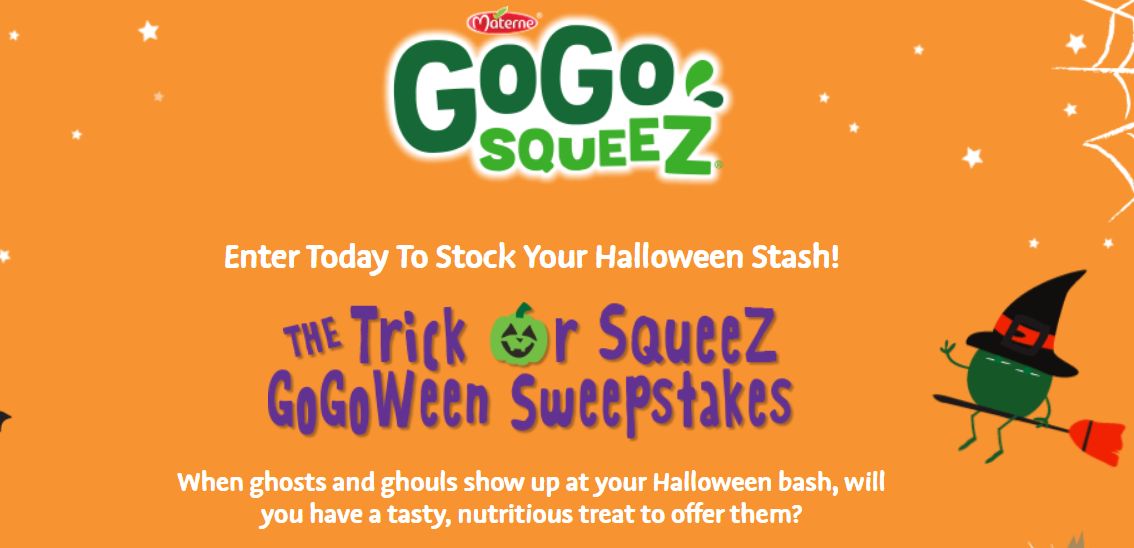 Enter Today To Stock Your Halloween Stash from squeeZ GoGoWeen.The Trick or squeeZ GoGoWeen Sweepstakes is your chance to enter to win enough GoGo squeeZ pouches to fill your trick or treat bowl to the brim!
