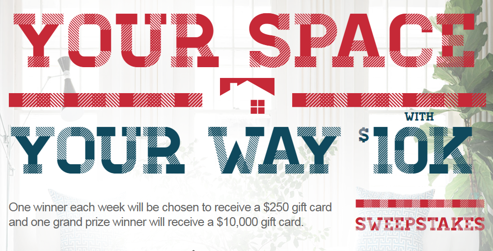 One winner each week will be chosen to receive a $250 Overstock.com gift card and one grand prize winner will receive a $10,000 Overstock.com gift card in the HGTV Your Space Your Way With $10K Sweepstakes