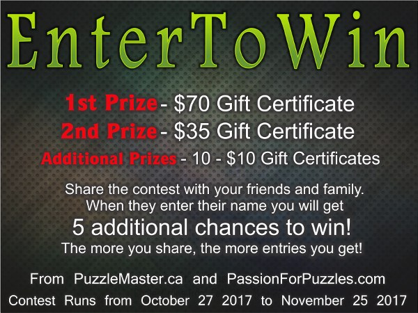 Puzzle Master Passion for Puzzles November Giveaway (12 Winners)