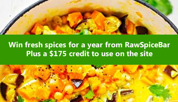 Enter for your chance to wina full year of quarterly spices, freshly ground, from RawSpiceBar PLUS a $175 gift certificate to spices in their shop