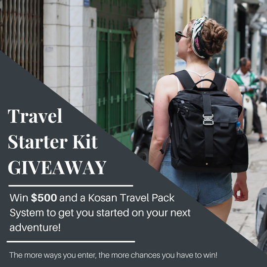 Enter for a chance to win $500 for your next adventure PLUS the Kosan Travel Pack System (valued at $250).
