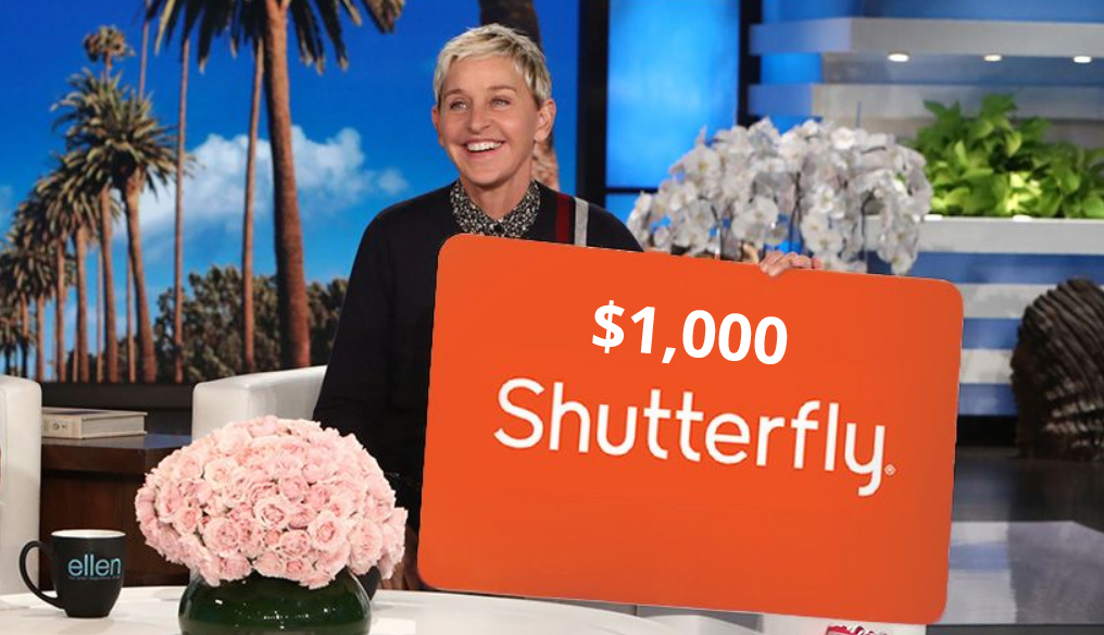Ellen is giving away a $1,000 Shutterfly gift card. Get ready to make some amazing photo books and more for the holidays
