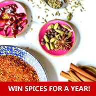 Enter for your chance to win a full year of quarterly spices, freshly ground, from RawSpiceBar PLUS a $175 gift certificate to spices in our shop!
