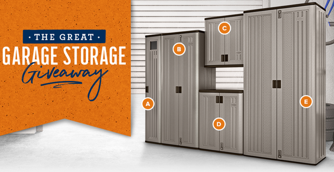 One lucky winner will receive a complete set of Suncast garage storage solutions, including the Tall Storage Locker and the Base, Wall, Tall, and Mega Tall Storage Cabinets. Complete the entry form below for your chance to win.