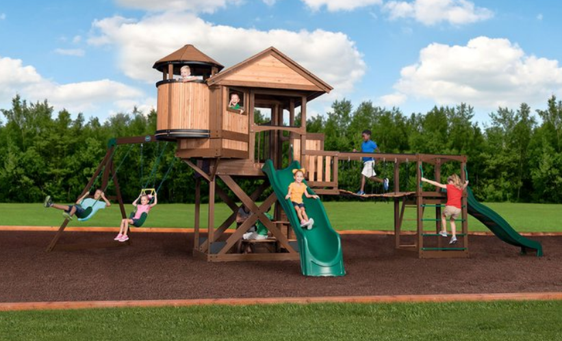 Enter for your chance to win aBackyard Discovery Timber Cove Swing Set including Installation worth $2,699