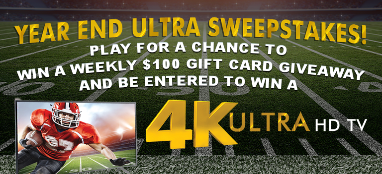 """Play the Year End Blowout Instant Win Game for your chance to win a 65"""" 4K TV or 1 of 13 $100 gift cards"""