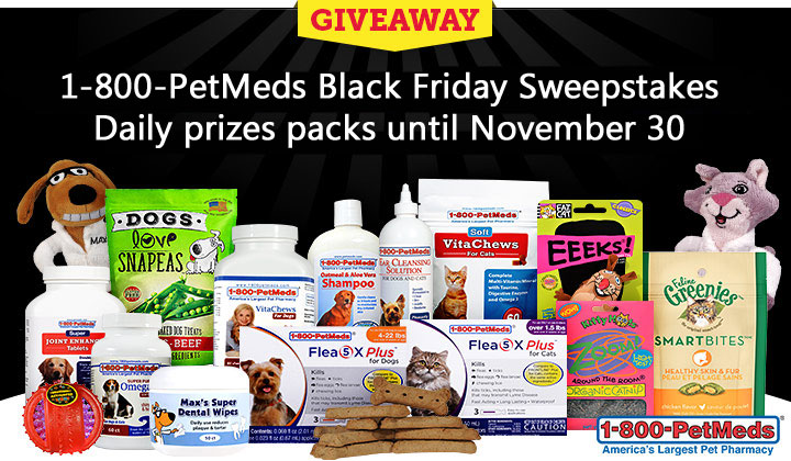 Enter 1-800-PetMeds Black Friday Sweepstakes for your chance to win a daily prize pack now until November 30