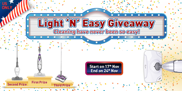 HURRY! Ends Nov 24th! 6 WINNERS! Win Light 'N' Easy multifunctional Steam Cleaner, professional steam mop or an electric sweeper broom. http://lightneasy.cc/giveaways/