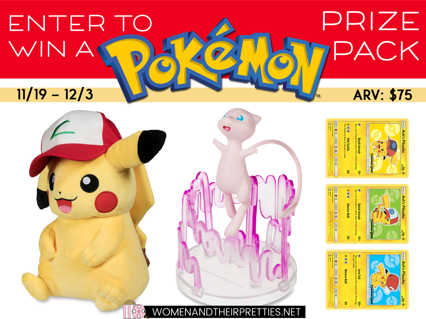 Enter for your chance to win aPokemon Trainer Prize Pack that includes aLarge Pokemon plush,Pokemon Gallery Figure, andPokemon Trading Cards