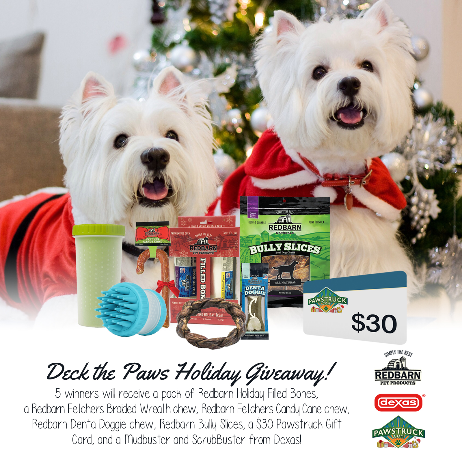 QUICK ENDING! Five people will win over $100 of Holiday Stocking Stuffers for your dog! Prizes include Redbarn Filled Bones, Fetchers Braided Wreath, Fetchers Candy Cane, $30 Pawstruck Gift Card, Dexas Mudbuster & SrubBuster, Redbarn Doggie Denta, and Redbarn Bully Slices