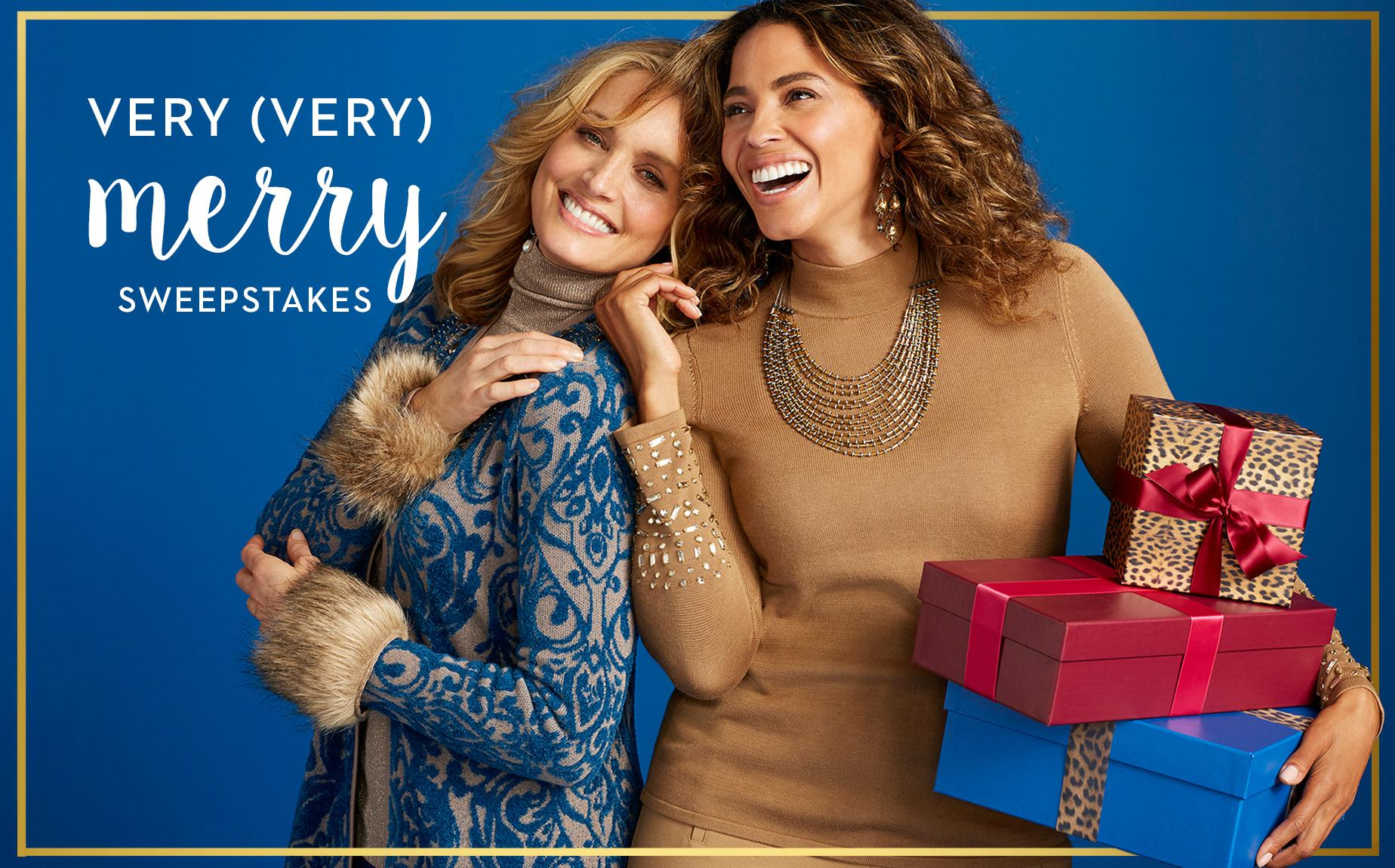 Chico's is giving three lucky winners a $500 Chico's Gift Card. What's merrier than giving (and getting) gifts this season?A $500 Chico's holiday shopping spree! So, make your list. Check it twice. And then enter our Very (Very) Merry Sweepstakes for a chance to win