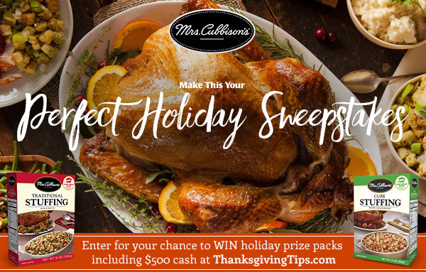 Enter for your chance to win cash and prizes in the Mrs. Cubbison's Make This You Perfect Holiday Sweepstakes!