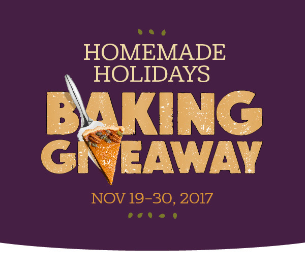 QUICK ENDING! Imperial Sugar/Dixie Crystals Homemade Holidays Baking Giveaway - 250 lucky winners will each receive a custom Imperial Sugar apron, a ceramic pie plate, pie weights and four of our favorite pie recipe cards.