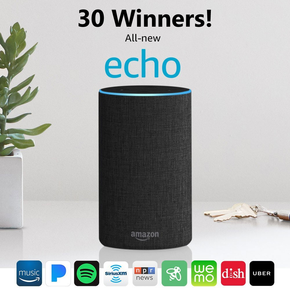 30 WINNERS! Enter for a chance to win one of 30 all-new Amazon Echo devices in theAmazon Music Holiday Echo Sweepstakes