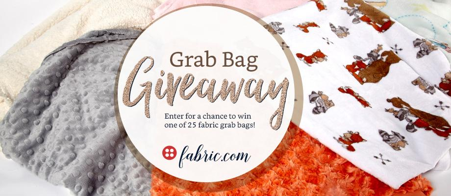 25 WINNERS! From now until December 21st, enter for a chance to win one of 25 fabric grab bags from Fabric.com! Each grab bag contains an assortment of (10) 1-yard cuts of fabric. Winners can choose from 3 grab bag options: Novelty Quilt, Home Decor Basics or Designer Apparel.