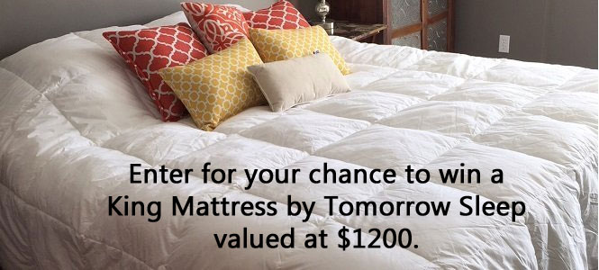 Enter for your chance to win a King Mattress by Tomorrow Sleep valued at $1200. One lucky winner will be drawn Christmas Eve.