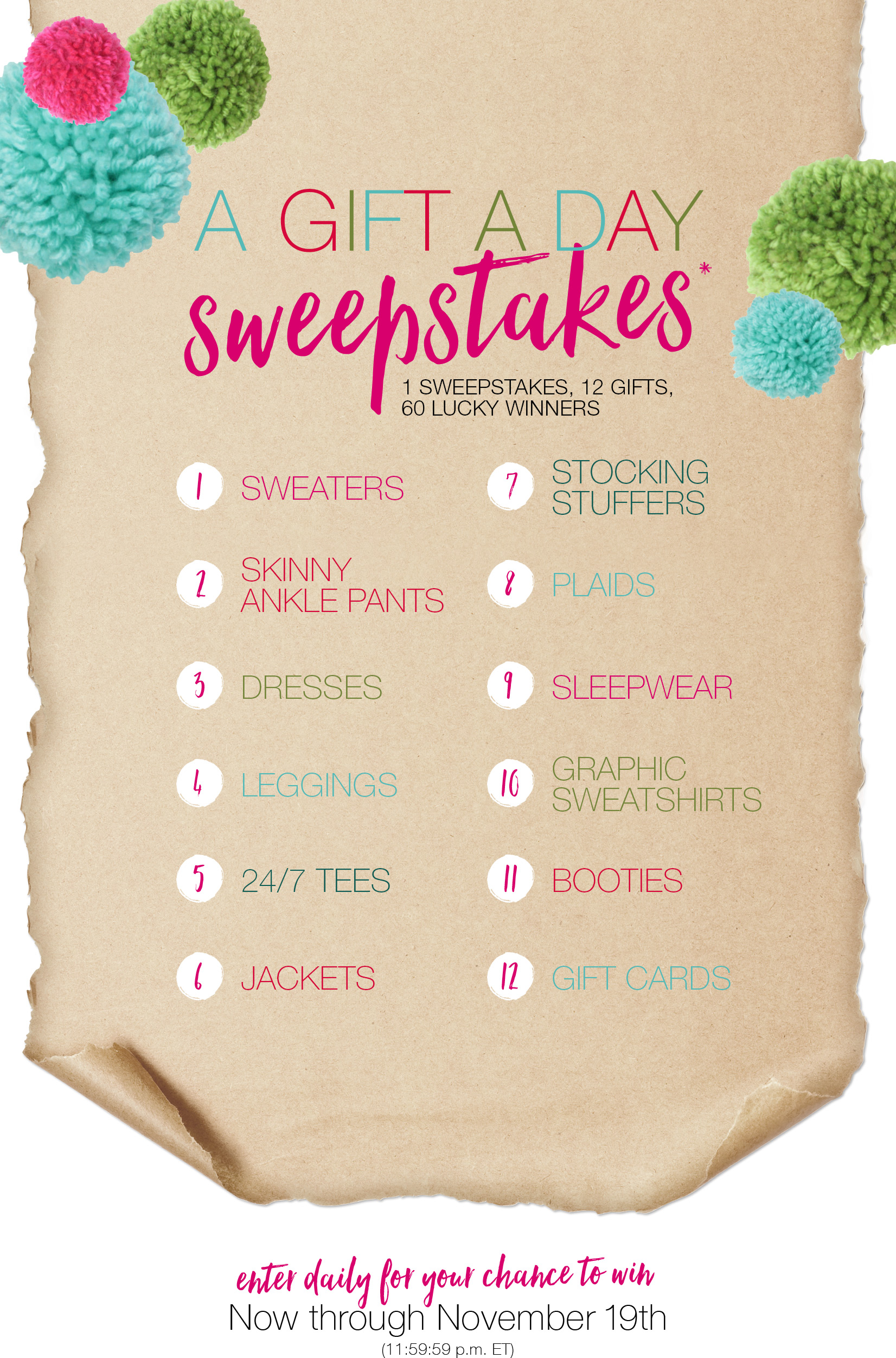 Enter for your chance to win clothing items and gift cards from Maurices - daily winners