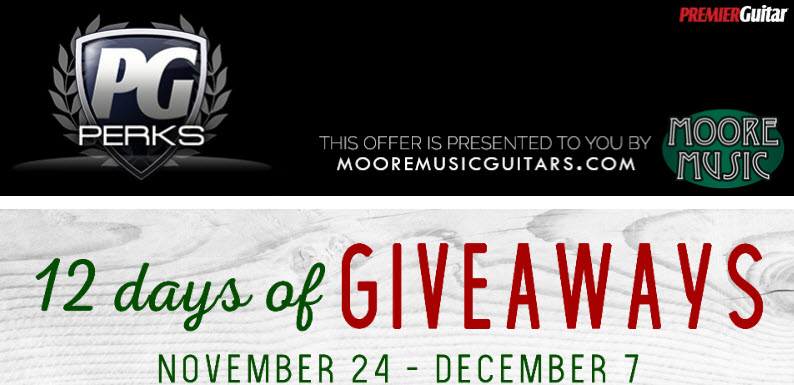 Click Here to Enter | Official Rules Official Rules: open to US, DC, 18 and older. Begins on November 24 and ends on December 7, 2017. One entry per person. Twelve (12) Prizes (one per day):each is a guitar fromFender, Marshall, Victory, Bogner, Taylor, Breedlove, Reverend, Ibanez, PRS, Godin, Friedman, and Mesa/Bogie ARV: $179 to $1,699