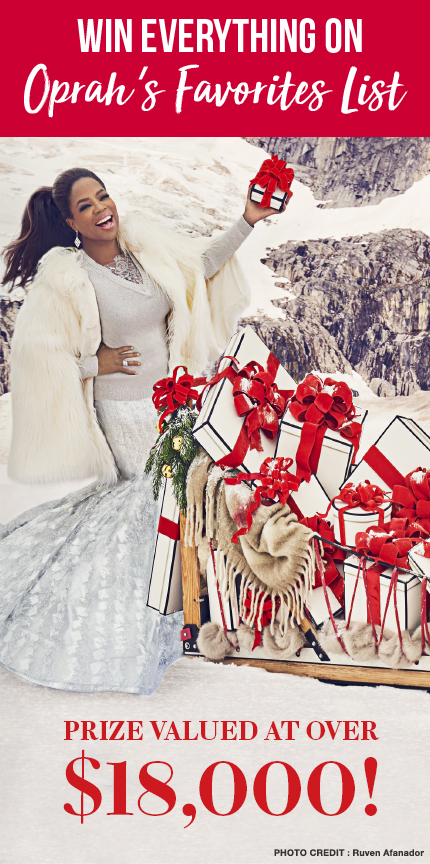QUICK ENDING! Oprah's The 12-Day Give-O-Way - Oprah is giving away amazing prizes in her The 12-Day Give-O-Ways. If you don't like the prizes you can opt for cash too! There will be 12 winners in all. Twelve winners will each win ALL 102 Favorite Things from Oprah