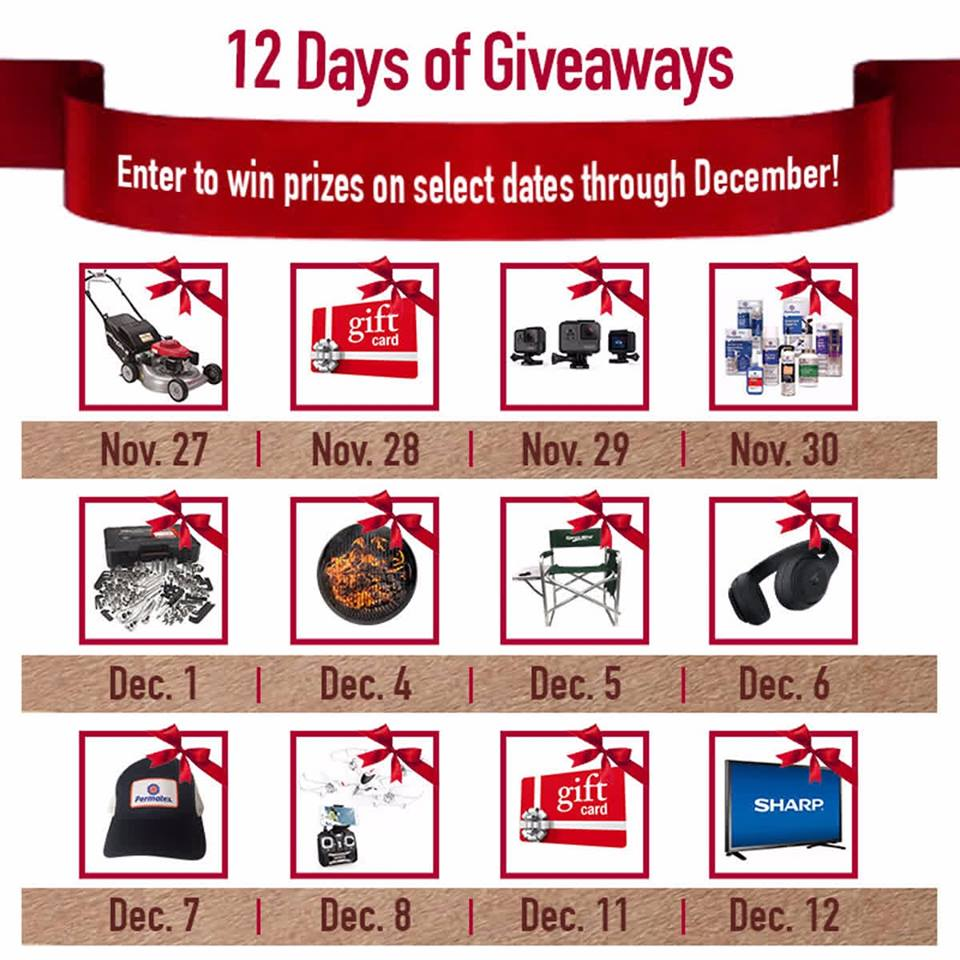 Win these season's hottest gifts in thePermatex 12 Days of Giveaways with Daily Prize drawings