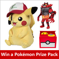 Enter for your chance to win a Pokemon Trainer Prize Pack that includes a Large Pokemon plush, Pokemon Gallery Figure, and Pokemon Trading Cards