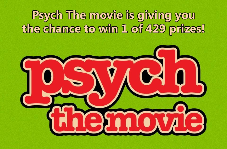 Psych The movie is giving you the chance to win 1 of 429 prizes.Test your eye for pineapples and see how many you can find in 60 seconds https://www.facebook.com/psych/app/693420380862247
