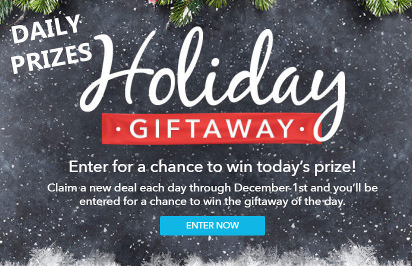 Enter for a chance to win today's prize from Retailmenot.com.Claim a new deal each day through December 1st and you'll be entered for a chance to win the giftaway of the day.