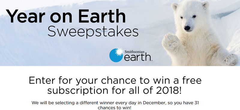 Enter for your chance to win a free subscription to Smithsonian Earth for all of 2018! They will be selecting a different winner every day in December, so you have 31 chances to win!