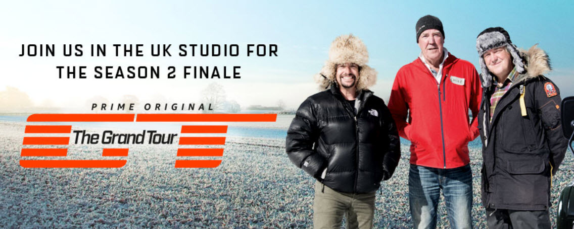 Enter for a chance to win tickets to the Season 2 Finale of The Grand Tour and an all expenses paid trip to London to watch the filming of an episode of The Grand Tour. Location of the studio recording will be in the Cotswolds, UK. The exact date and location of the studio recording will be communicated to the winner at a later date.
