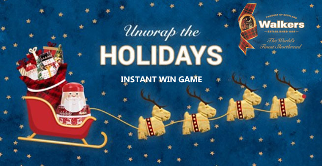 Play Walkers Shortbread Unwrap the Holidays Instant Win Game for a chance to win one of hundreds of prizes, including FREE SHORTBREAD FOR ONE YEAR! Unwrap one of the gifts to see if you are a winner.