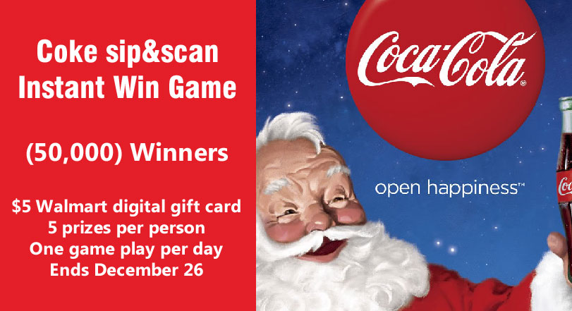sip&scan $5 Walmart Gift Card Instant Win Game