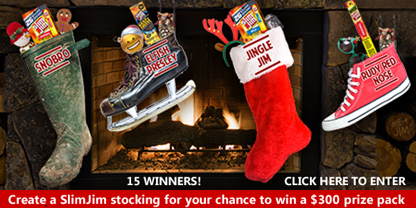 Slim Jim is giving you the chance to win 1 of 5 weekly $300 prizes packs that include a $250 Walmart eGift card, Slim Jim Original Smoked Snack Sticks and two embroidered holiday stockings.