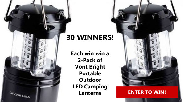 Enter for your chance to wina Vont Bright 2 Pack Portable Outdoor LED Camping Lantern in this giveaway. Thirty (30)winners will be randomly selected after the giveaway ends. All winners will be notified by email and will have 48 hours to respond.