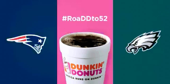 Today through Sunday, February 4, you can enter the Dunkin Donuts #RoaDDto52 Super Bowl sweepstakes to win Dunkin Donuts coffee for a year #SBLII #DunkinDonuts