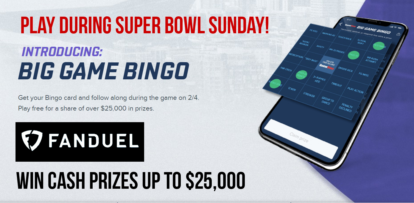FanDuel Big Game Super Bowl Bingo