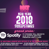 Enter for your chance to win a Free 12-month Spotify Premium e-Gift Card or one of four other gift cards in the NXTSTYLE New Year Sweepstakes.