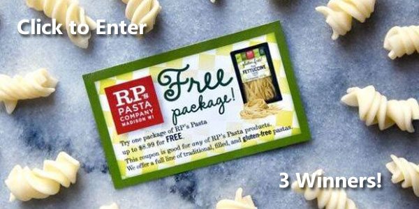 3 WINNERS will each win 5 Free VIP coupons each good for RP's Gluten-Free Pasta. Hurry, ends February 27