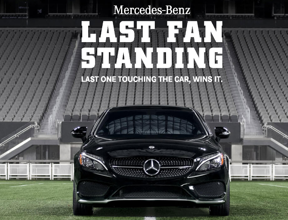 Win a mercedes benz during the super bowl 2 4 1pp18 for Mercedes benz giveaway