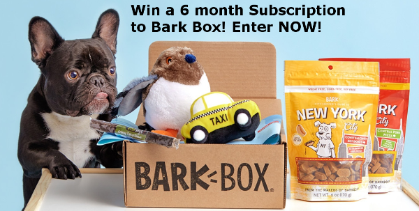 Enter for a chance to Win a 6 month subscription to BarkBox for your pup from DealsOnPetStuff.com. You will get to pick their box type and specify any preferences, and allergies