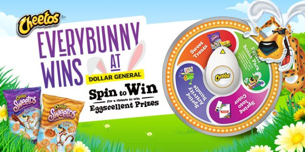 Enter your Dollar General Cheetos code for a chance to spin the wheel and win Eggscellent Prizes from Chester.