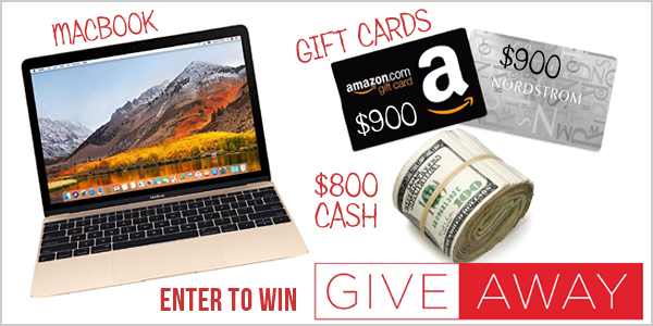 One winner will get to choose 1 of 4 prizes with up to $1,000 - a Macbook Air, $900 Gift Card to Nordstrom or Amazon or $800 PayPal Cash