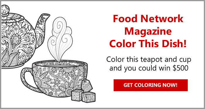 Color this Food Network Magazine teacup coloring page and you could win $500! Details Here