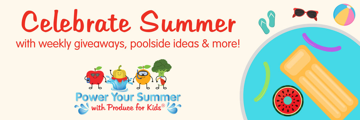 Summer is here! Time to kick off the shoes, grab your swimsuit and enjoy the sunshine poolside. Produce for Kids is celebrating summer with their #PowerYourSummer Sweepstakes. All summer, they will be giving out weekly prizes ranging from watermelon pool floats to pineapple beach towels and more.