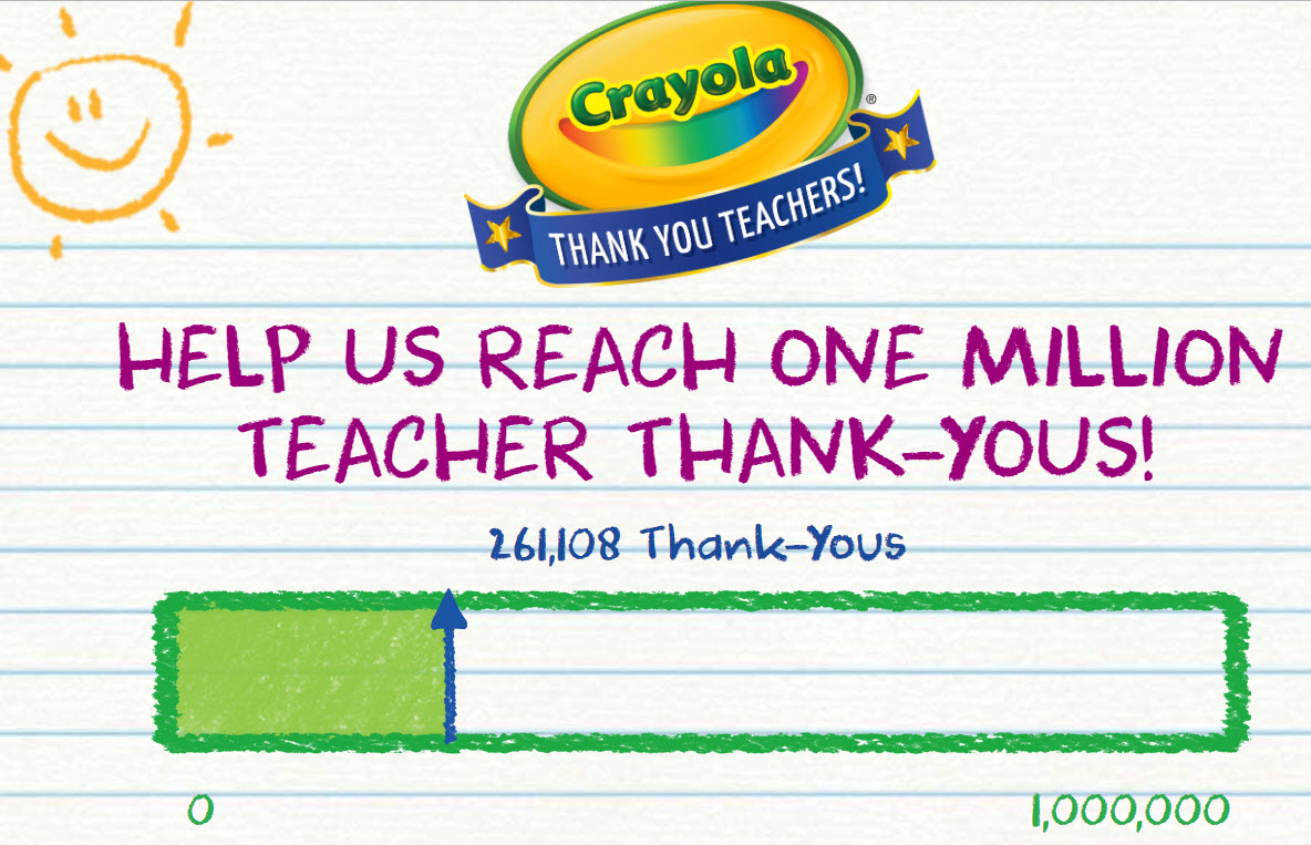 Thank a teacher on social media with #CrayolaThanks to contribute to Crayola's 1 million thank-you goal. Your post could even be featured on the Crayola website and you could win a fabulous prizes